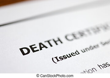 Death certificate is on table. Paperwork after death of relative