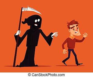 Death character chasing running after scary man mascot. Vector flat cartoon illustration