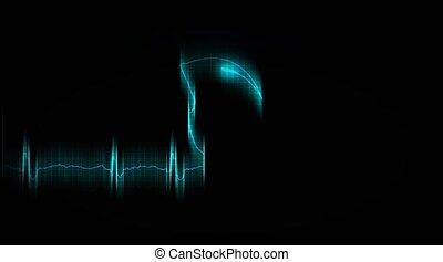 death., coeur, malade, attask., cardiogramme
