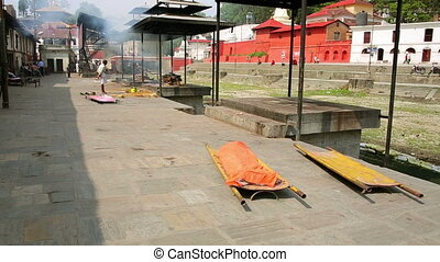 death corpse burning cremation fire, pashupatinath temple, kathmandu, nepal