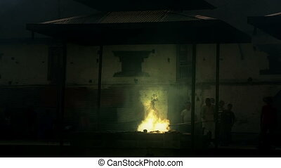 death corpse burning fire, cremation ceremony, pashupatinath...