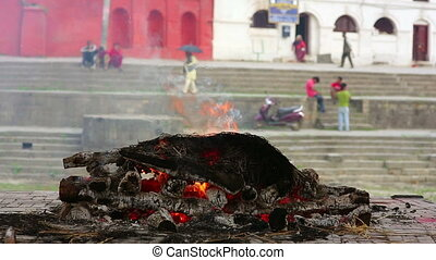 death corpse burning fire, cremation ceremony, pashupatinath temple, kathmandu, nepal