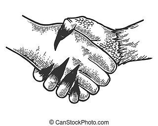 Death davil handshake engraving vector illustration. Scratch...