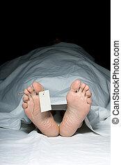 Dead man - feet with tag