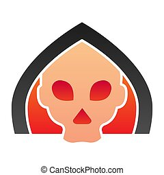 Death flat icon. Grim reaper skull, creepy demon face in hood. Halloween party vector design concept, gradient style pictogram on white background.