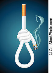 illustration of burning cigarette in shape of noose hanging on abstract background