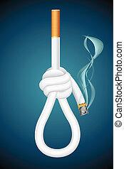 Death from Cigarette - illustration of burning cigarette in...
