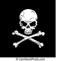 Death - Human skull with cross bones on black background. ...