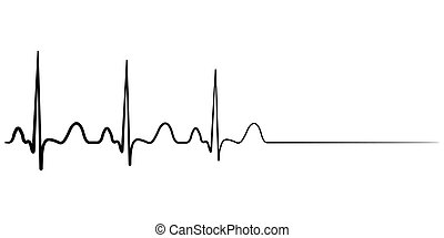 Death icon, cardiac arrest, vector cardio cardiogram, ...