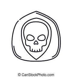 Death icon, linear isolated illustration, thin line vector, web design sign, outline concept symbol with editable stroke on white background.