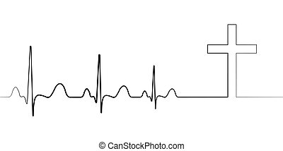 Death icon symbol cardiac arrest, vector cardiogram with ...