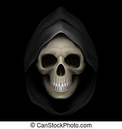 Death image. - Skull in black hood as image of death. Grim...
