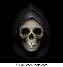 Death image. - Skull in black hood as image of death. Grim ...