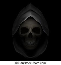 Death image. - Skull in black hood as image of death. Grim...