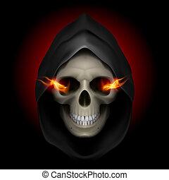 Death image. - Skull in black hood with fiery eyes as image...