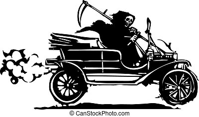 Death in a vintage car - Woodcut style expressionist image...
