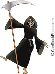 Death in black cloak with scythe dancing party Halloween