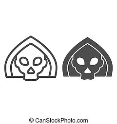 Death line and solid icon. Grim reaper skull, creepy demon face in hood. Halloween party vector design concept, outline style pictogram on white background.