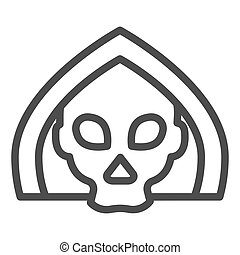 Death line icon. Grim reaper skull, creepy demon face in hood. Halloween party vector design concept, outline style pictogram on white background.
