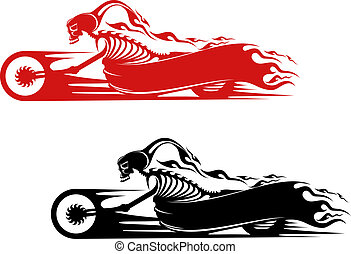 Death monster on motorcycle for biker and racer tattoo...