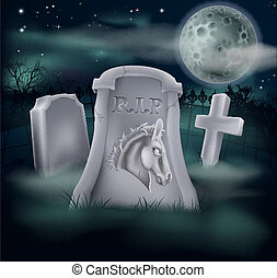 Death of Democrat Party concept of tombstone with Democrat symbol of Donkey on a grave marker (Republican version also available)