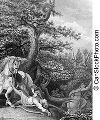 Death of William Rufus during a hunting trip in the New Forest on engraving from the 1800s. King of England during 1087-1100. Engraved by J.Rogers after a painting by Burney and published by J.& F.Tallis.