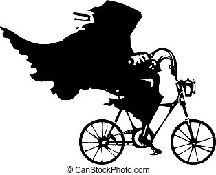 Death on a Bicycle - Woodcut styled image of a hooded wraith...
