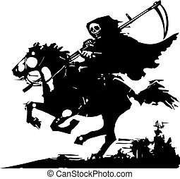 Death on a Horse - Woodcut expressionist style image of...