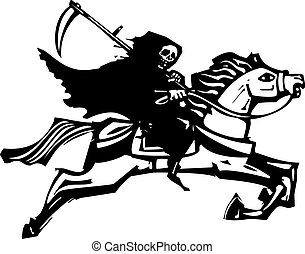 Death on a white horse - Woodcut style image of death riding...