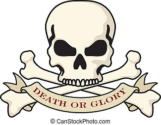 Vector illustration of the classic death or glory skull emblem used down through the ages by soldiers, bikers, and rebels of all kinds.