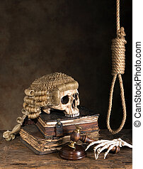 Death penalty - Symbols of death penalty like noose, judge's...