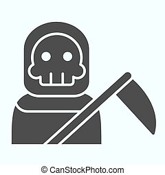 Death person solid icon. Stranger in a coat with scytche. Halloween vector design concept, glyph style pictogram on white background, use for web and app. Eps 10.