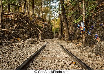 Death Railway, Old railway at Hellfire pass, Kanchanaburi,...
