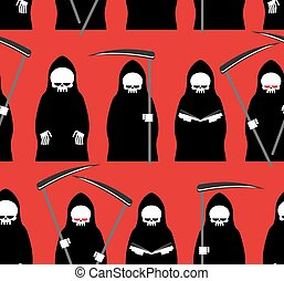 Death seamless pattern. Grim Reaper red background. Texture for Halloween