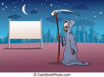 death sign - illustration of a grimm reaper holding big...