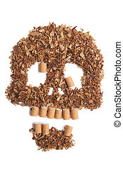 Death sign scull made of tobacco Smoking metaphor