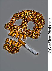 Death sign skull made of Tobacco – Smoking metaphor
