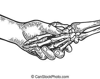 Death skeleton handshake engraving vector illustration....