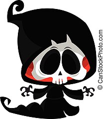 Death skeleton illustration. Cartoon grim reaper. Halloween design
