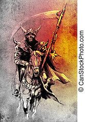 Death. Sketch of tattoo art, warrior at horse illustration