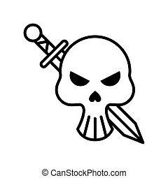 death skull head with sword crossed line style