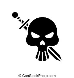 death skull head with sword crossed silhouette style