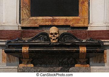 Human skull symbol of death in church