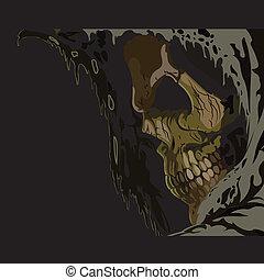 Death skull in hood.
