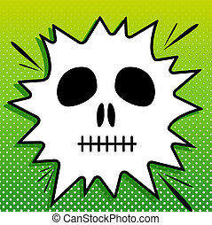 Death skull sign. Black Icon on white popart Splash at green background with white spots. Illustration.
