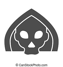Death solid icon. Grim reaper skull, creepy demon face in hood. Halloween party vector design concept, glyph style pictogram on white background.