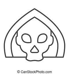 Death thin line icon. Grim reaper skull, creepy demon face in hood. Halloween party vector design concept, outline style pictogram on white background.