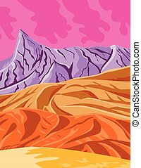 Death Valley National Park in California and Nevada United States WPA Poster Art Color