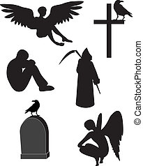 Death vector set - The Silhouette of the death on white...