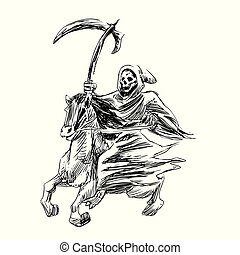 Death with a scythe rides a horse - Hand drawn engraving - Vector vintage illustration